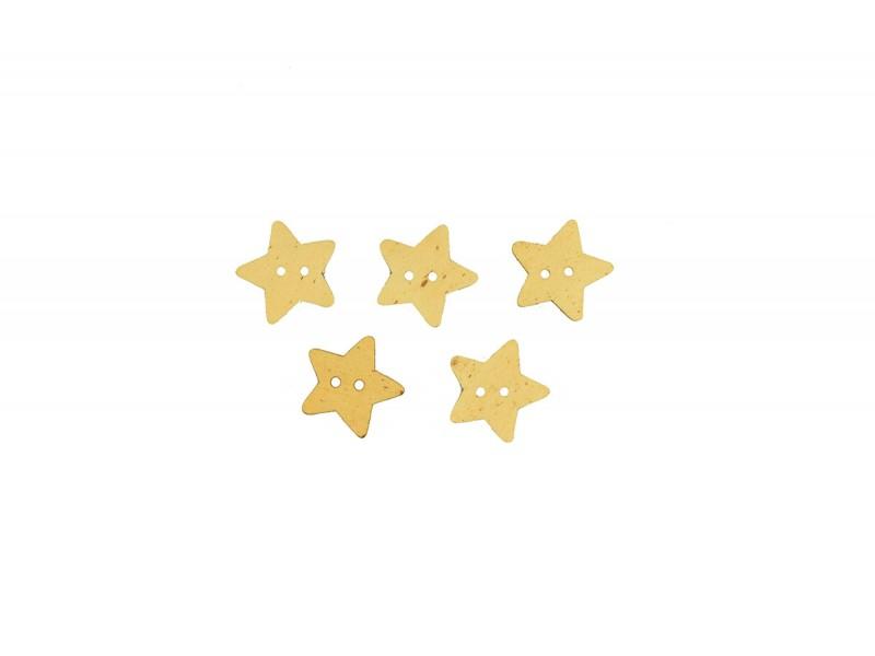 houten ster knoop 5 stuks