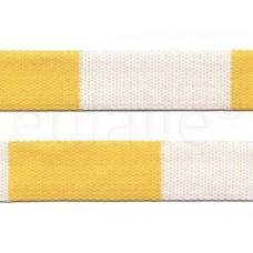 judo band 4 cm geel wit