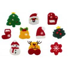 kerst set badstof patches 10 stuks