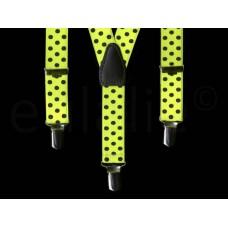 kinderbretel fluor geel met zwarte stippen