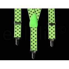 kinderbretel fluor groen met zwarte stippen