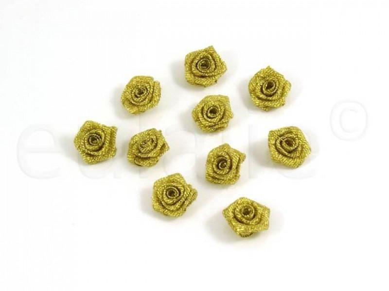 roosjes set lurex goud 20 mm (10 stuks)