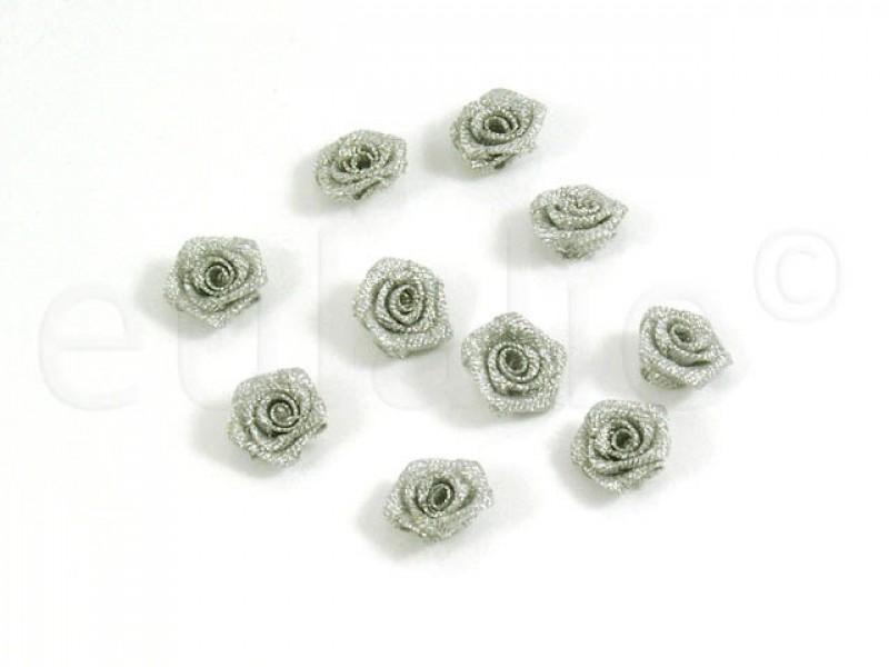 kleine roosjes zilver (10 stuks)