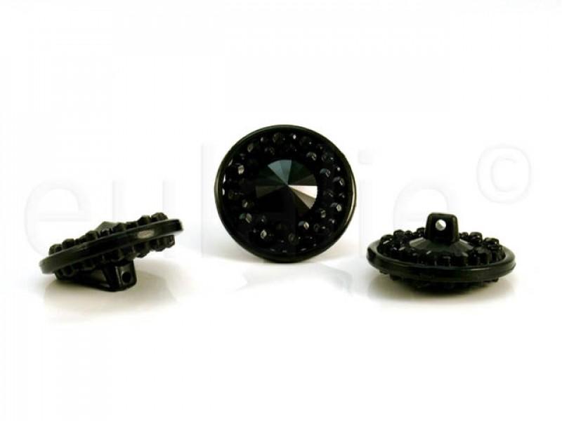 knoop met kraaltjes zwart 2.3 cm