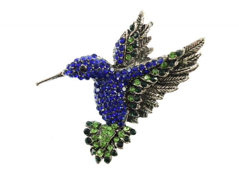 kolibri broche bewerkt met strass steentjes kobalt blauw