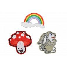 konijn paddestoel regenboog patch set