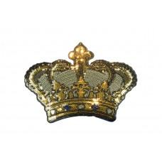 kroon patch pailletten zilver goud XL 24x18 cm