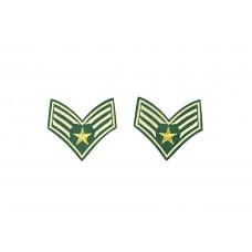 leger rang patch groen beige 2 stuks