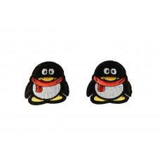 linux pinguin applicatie opstrijkbaar 2 stuks