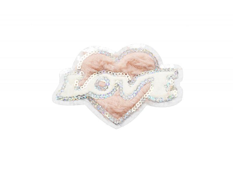 love hart applicatie van pluche en pailletten 9 x 6 cm