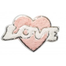 love hart applicatie van pluche en pailletten  XL 24 x16 cm