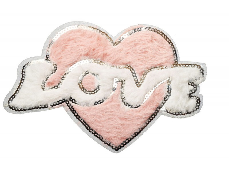 love hart applicatie van pluche en pailletten  XL 24 x16 cm