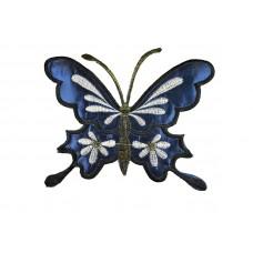 luxe applicatie vlinder blauw glans XL