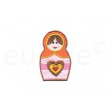 Matroesjka applicatie satijn middel oranje hoofddoek