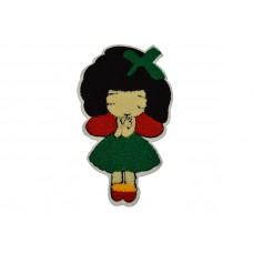 meisje in groene jurk applicatie badstof 16 x 26 cm