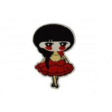 meisje in rode jurk applicatie badstof 14 x 21 cm