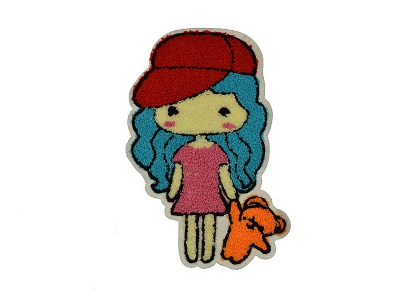 meisje met rode pet applicatie badstof 12 x 20 cm