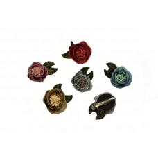 mini corsages set 5 stuks lurex pastelkleuren met groene blaadjes