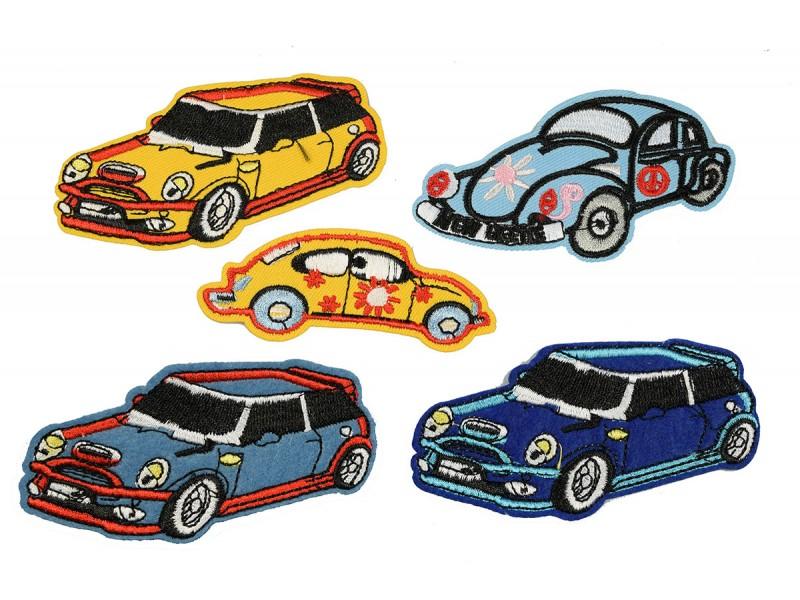 Mini en kever auto patch set 5 stuks opstrijkbaar