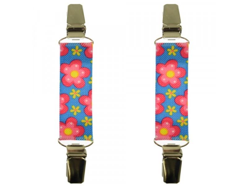 mouwophouders bloemen roze blauw