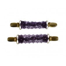 mouwophouders paars kant roosjes parels goud clips