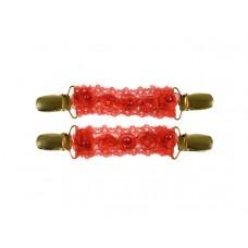 mouwophouders rood kant roosjes parels goud clips