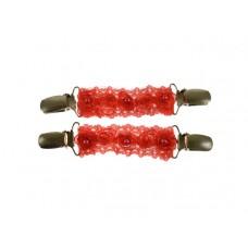mouwophouders rood kant roosjes parels zilver clips