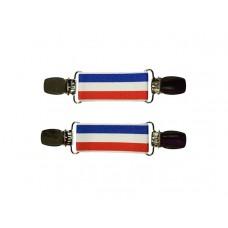 mouwophouders rood wit blauw zilver clips