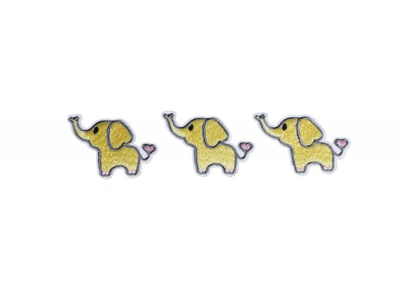 olifantjes patch geel HD 3 stuks