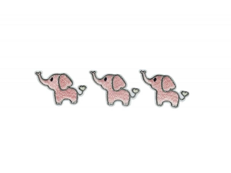 olifantjes patch roze HD 3 stuks
