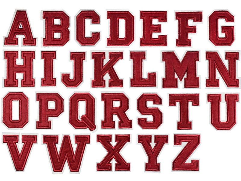 opstrijkbare alfabet letter patch bordeaux rood wit