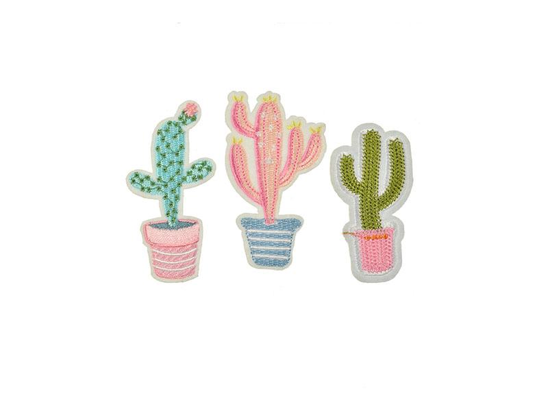 opstrijkbare cactus applicatie set van 3