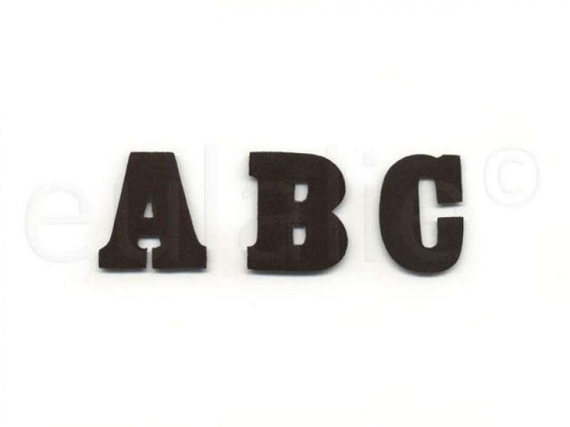 opstrijkbare letter vilt zwart klein