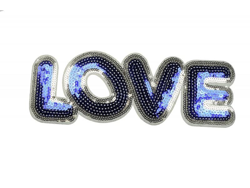 opstrijkbare love patch pailletten blauw 24 x 8 cm