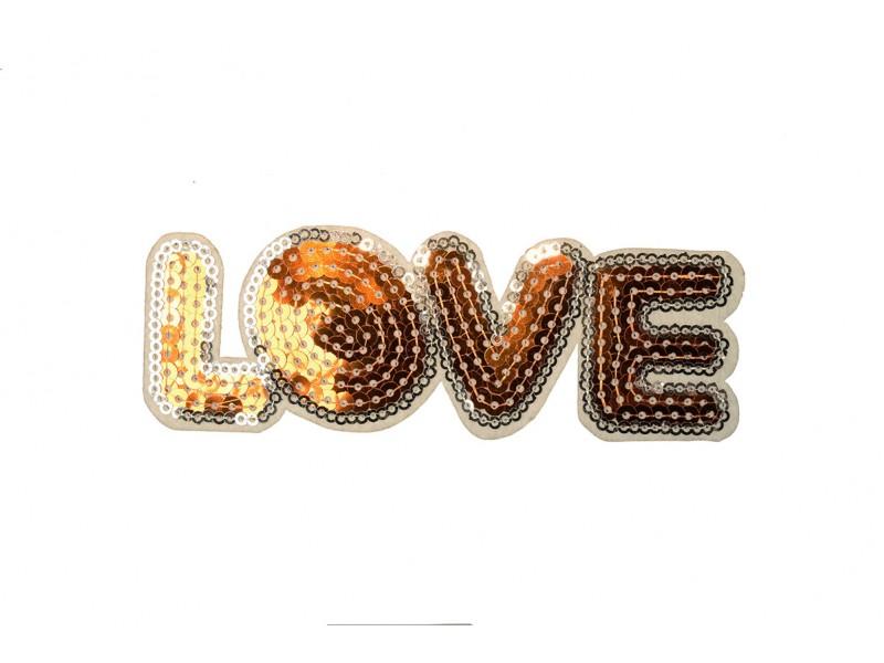 opstrijkbare love patch pailletten goud