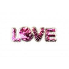 opstrijkbare love patch pailletten roze