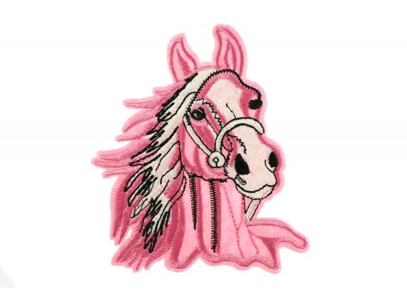 opstrijkbare paard patch roze