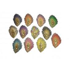 opstrijkbare pauwenveer applicatie set 12 kleuren met pailletten groot