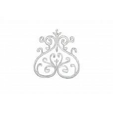 ornament applicatie zilver geborduurd 10x9cm