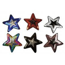pailletten sterren patch set 6 stuks opstrijkbaar