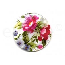 parelmoer knoop bloemen fuchsia 5 cm