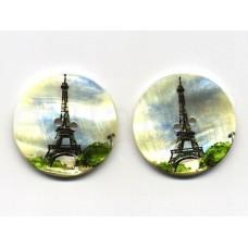 parelmoer knoop print Eiffeltoren 3.5 cm