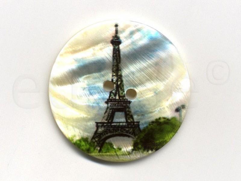 parelmoer knoop print Eiffeltoren 5 cm