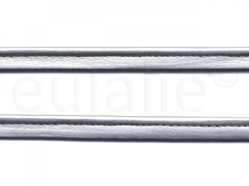 paspelband leer zilver rol 25 meter
