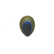 pauwoog patch kobalt blauw goud