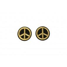 peace embleem opstrijkbaar zwart goud 2 stuks