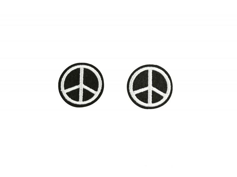 peace embleem opstrijkbaar zwart wit 2 stuks