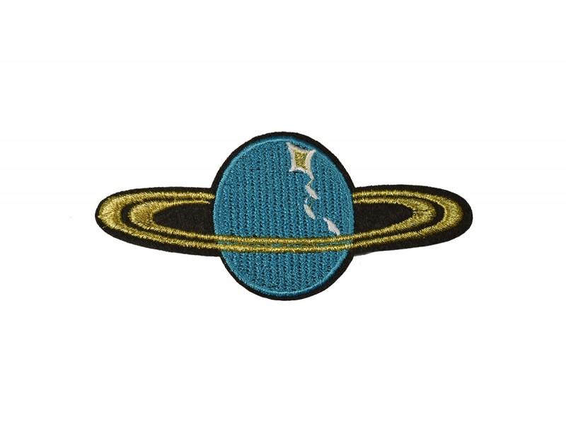 planeet saturnus applicatie blauw met gouden ringen