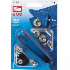 jeans knopen zilver open kap ster 17mm Prym
