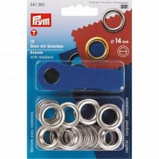 ringen met schijven, nestels 14mm zilver Prym